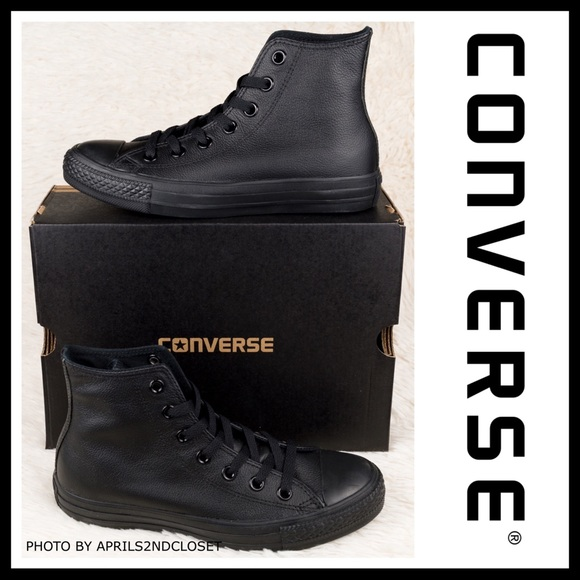 CONVERSE BLACK LEATHER HIGH TOPS CHUCK TAYLOR A2C NWT